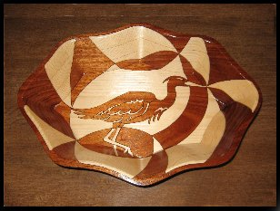 Blue Heron, inlaid wooden bowl