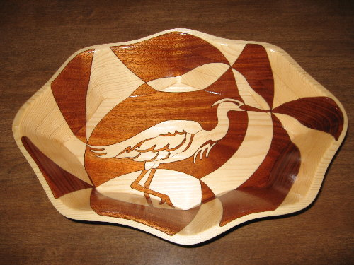 White Heron, decorative wooden bowl
