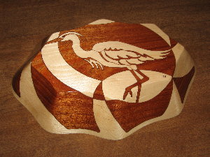 White Heron, bottom view, decorative wooden bowl