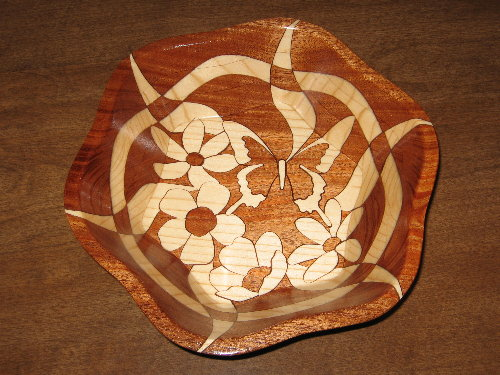 Butterfly and Flowers, decorative wooden bowl