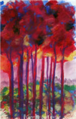 October Trees, pastel painting on watercolor paper