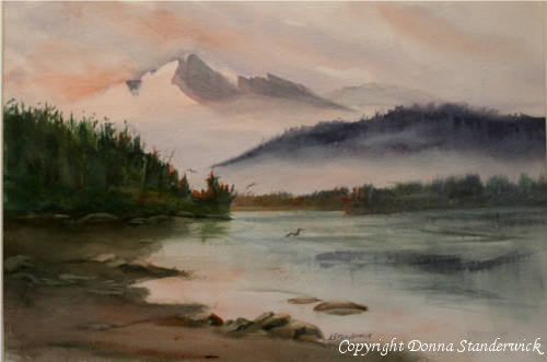 Olympic Sunrise, watercolor painting