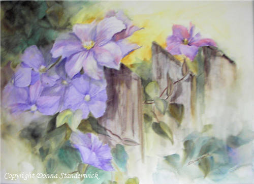 On the Fence, watercolor painting, clematis flower