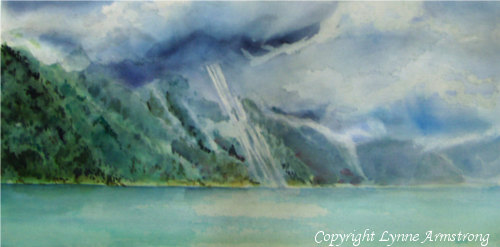 After the Storm, watercolor painting, mountain lake painting