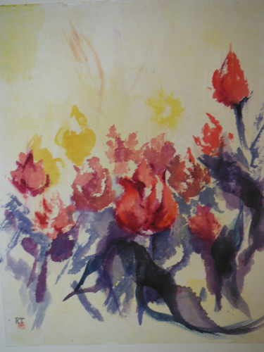 March Bloom, original watercolor on rice paper painting